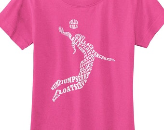 4346c887 Girls' Volleyball Player Typography - Girls' Fitted Youth T-shirt