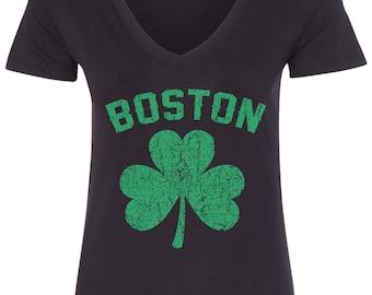 Eire Shamrock Clover Irish Pride Ireland Celtic Charm Juniors V-neck T-shirt