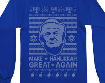 Donald Trump Make Hanukkah Great Again Ugly Holiday Sweater Men's Long Sleeve T-shirt