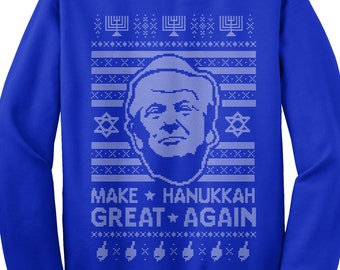 Donald Trump Make Hanukkah Great Again Ugly Holiday Sweater Unisex Adult Crew Neck Sweatshirt