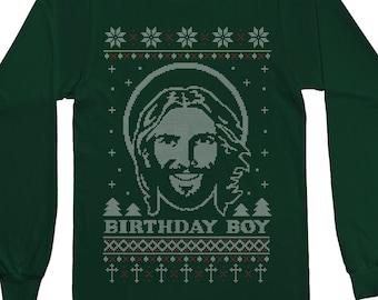 Birthday Boy Jesus Ugly Christmas Sweater Men's Short Sleeve or Long Sleeve T-Shirt