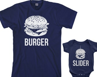 afa81d96b Burger and Slider Men's T-shirt And Infant Bodysuit Dad And Baby Matching  Set. Threadrock