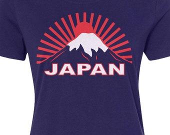 6aaac3393ada Japan Rising Sun - Women's Long Sleeve T-shirt - Raw-Edge Raglan - Short  Sleeve T-shirt - V-Neck Fitted T-shirt