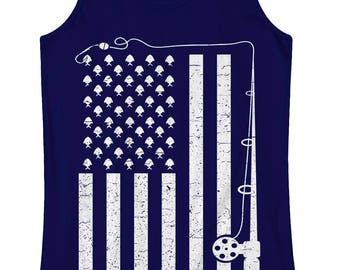 Fishing American Flag Women's Racerback Tank Top Fun Fisherman 4th of July Independence Day Party America USA Pride