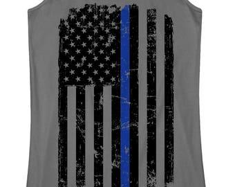 Thin Blue Line Skull Flag Racerback Tank  Thin Blue Line Apparel  Back The Blue  Police Flag  Police Wife  Shirt  Deputy  Thin Line