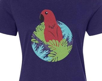 8662d193 Red Parrot In Rainforest - Women's Long Sleeve T-shirt - Raw-Edge Raglan -  Short Sleeve T-shirt - V-Neck Fitted T-shirt