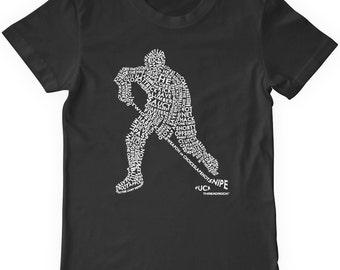 Retro Hockey Player Youth T-Shirt Kids Hockey Shirt