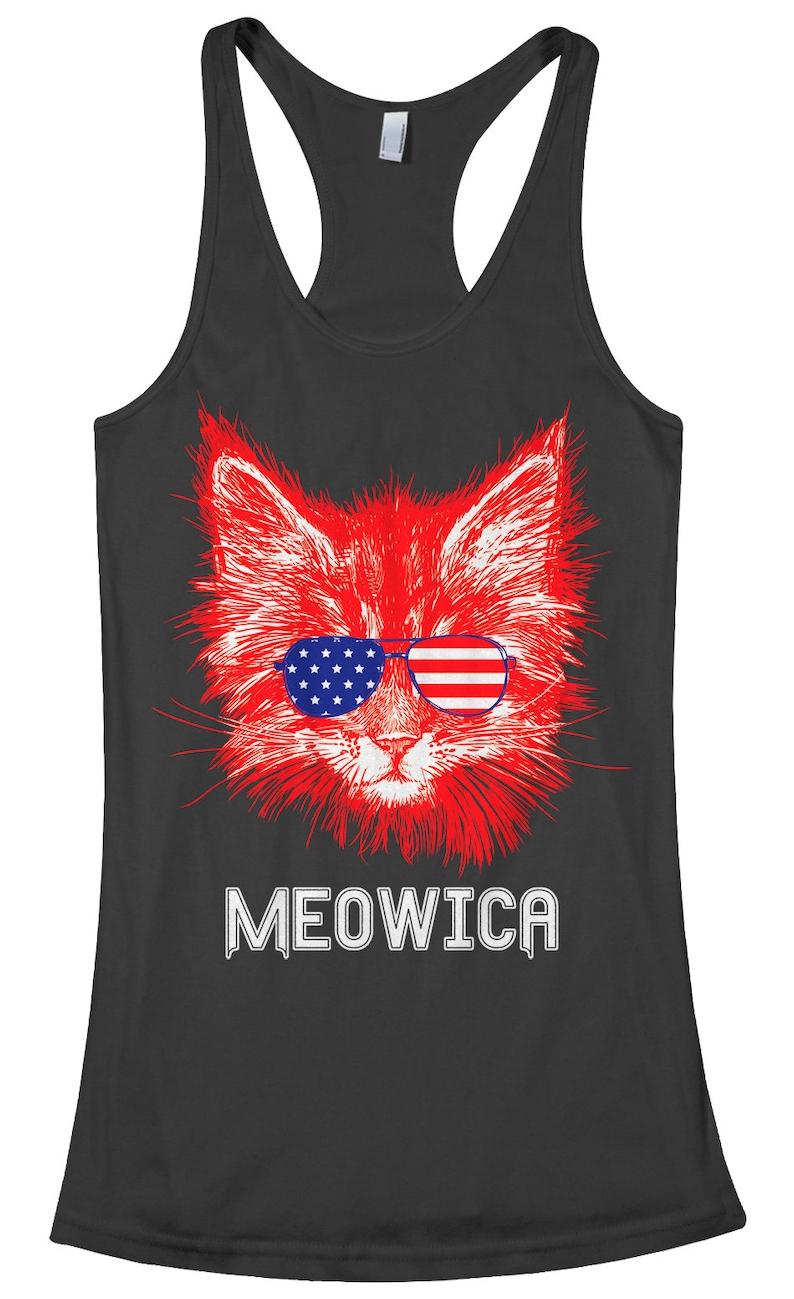 6775737b5b923 Meowica Cat Women s Racerback Tank Top American Flag Fun