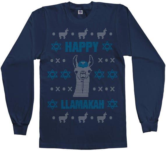 Happy Llamakah Ugly Sweater Women/'s V-Neck T-Shirt Hanukkah Gift