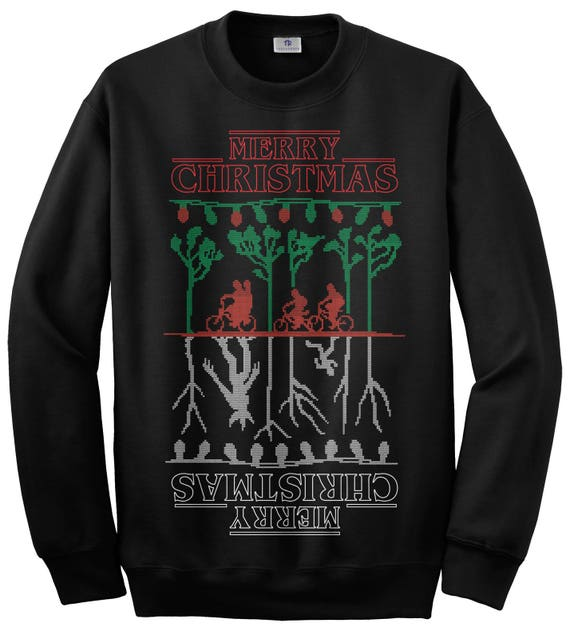 Stranger Things Christmas Sweater.Merry Christmas The Upside Down Stranger Things Ugly Christmas Sweater Unisex Adult Crew Neck Sweatshirt
