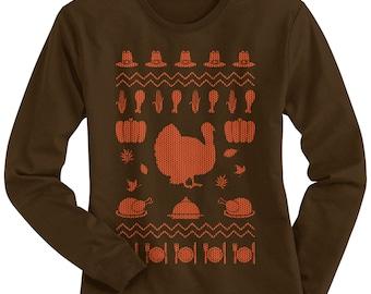 Thanksgiving Ugly Sweater Women's Long Sleeve T-shirt - TA_00382
