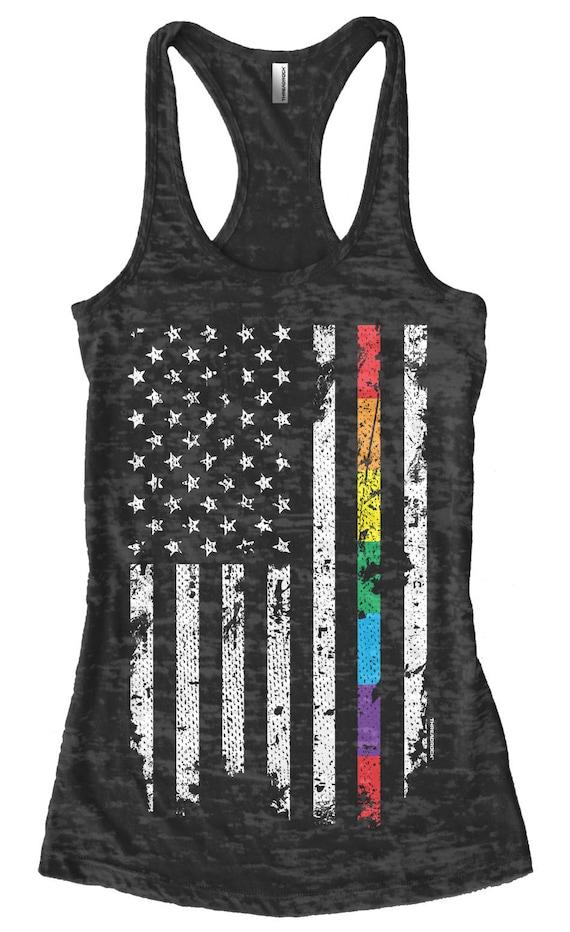 Gay Lesbian LGBT Pride Men/'s Tank Top T-shirt Rainbow American Flag