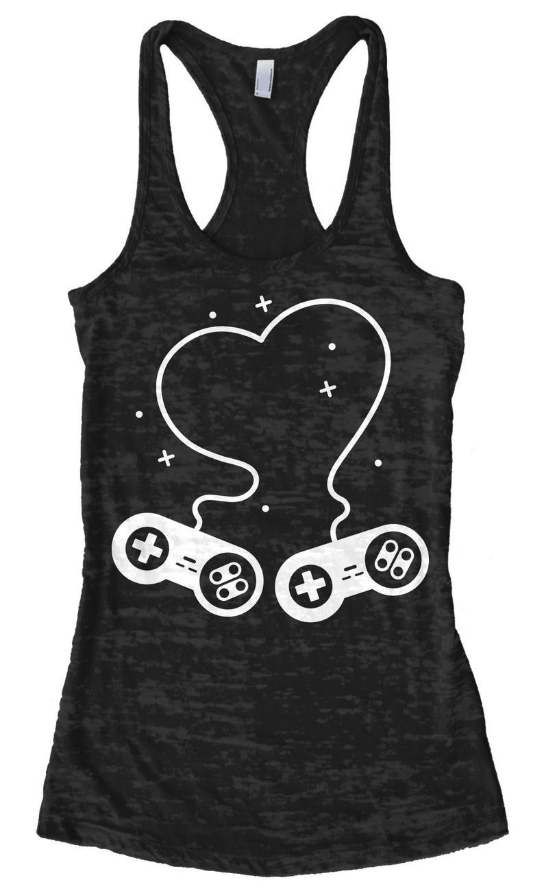 Heart Formed by Video Game Controllers Women/'s Racerback Tank Top Burnout Racerback Tank Top