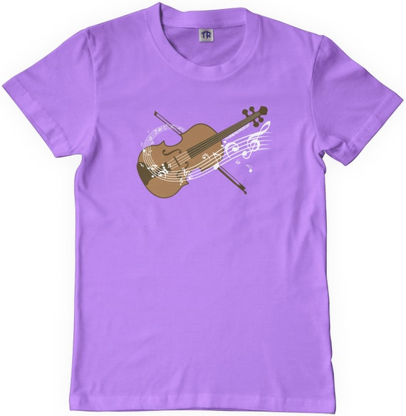 Threadrock Girls Violin Fitted T-shirt Fiddle String Instrument Orchestra