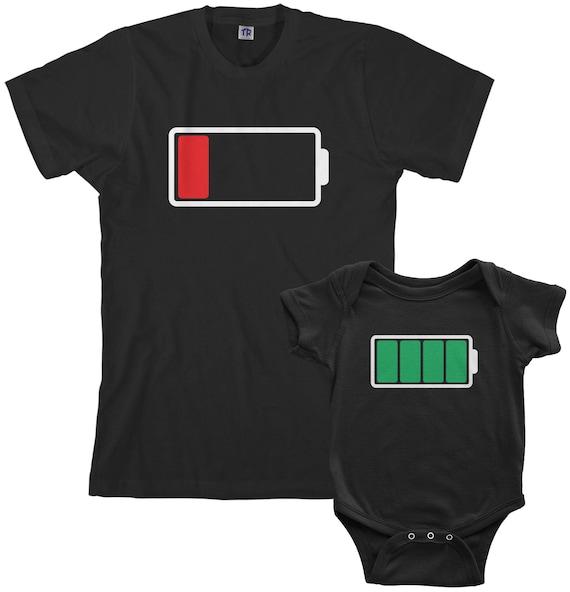 Ensemble batterie pleine et basse hommes T shirt et Body pour bébé papa et bébé assorti
