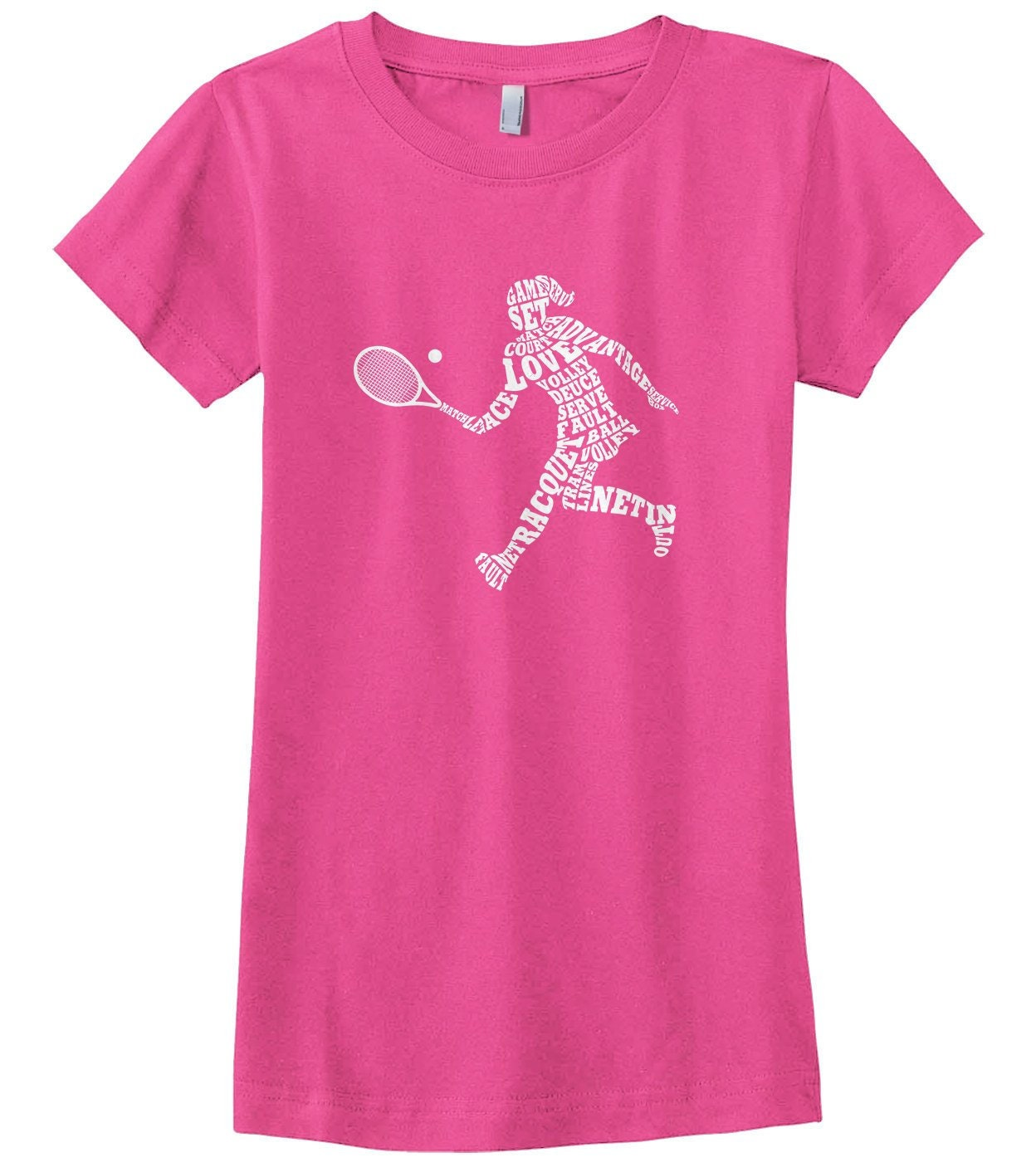 Girls Tennis Player Typography - Girls Fitted Youth T-shirt Unisex Tshirt