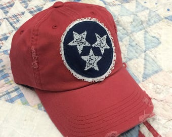 04576ee1 READY TO SHIP -- Tristar cap - Tennessee Tristar hat - Distressed baseball  cap - Red, White & Blue Tennessee cap