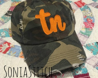 ccc13d7cf8b7b Tennessee Cap - Distressed tn Hat - Cursive tn - Game Day Hat - Camo Hat -  Tennessee State Pride Cap