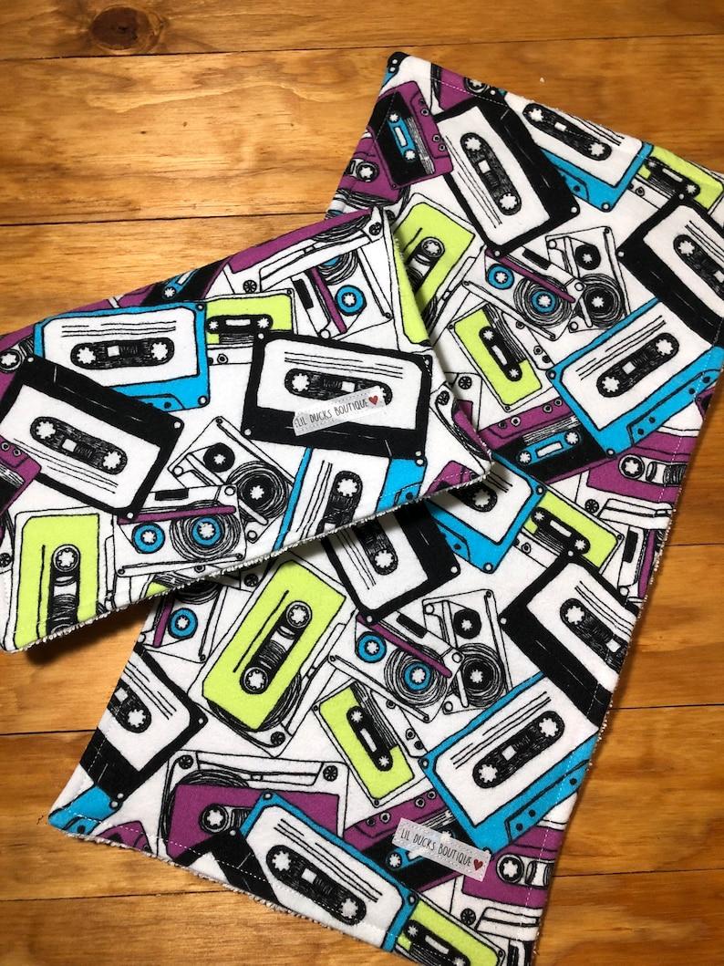 Retro Mixed Tape Burp Cloth Set of 2