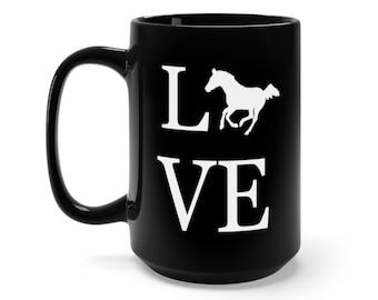 Love Horse Mug, Horse Gifts, Horse Mug, I Love Horses, Gift for Horse Lover, Coffee Mug, Cup, Tea, Gift, Black, 15oz, Love, Horse, Mug