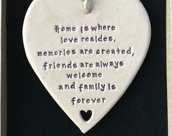 Home is where love resides hanging ceramic gift/decorative item handmade in Wales