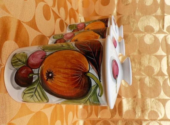 70er jahre italienische k che keramik vorratsdosen mit orangen etsy. Black Bedroom Furniture Sets. Home Design Ideas