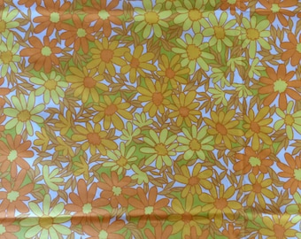 70s  Double Bed Flat Sheet and 2 Pillowslips. Vintage Funky Yellow, Orange, Green Floral Hippy Flowers Retro Bedding New Old Stock