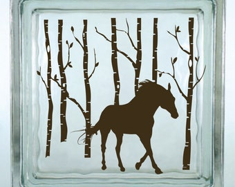 "Horse with Name /& Dots Decal sticker for 8/"" Glass Block Shadow Box"