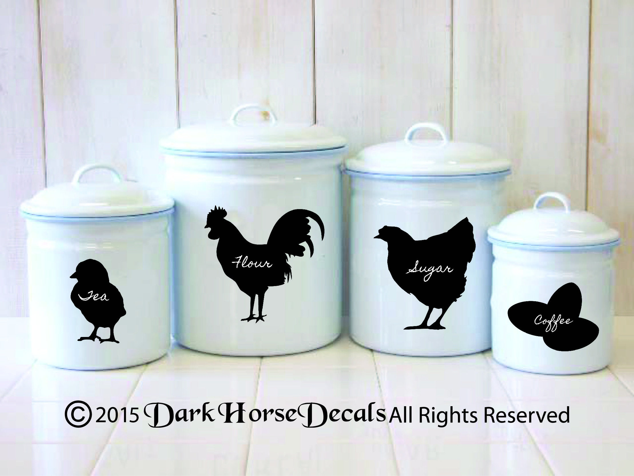 Chicken Chalkboard Canister Labels Set of 4 Rooster Hen | Etsy