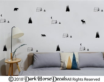 Little CamperTents, Trees and Woodland Animals  Wall Decals