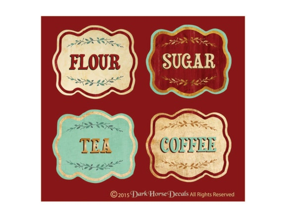 Vintage Style Canister Labels Set Of 4 Flour Sugar Tea Coffee