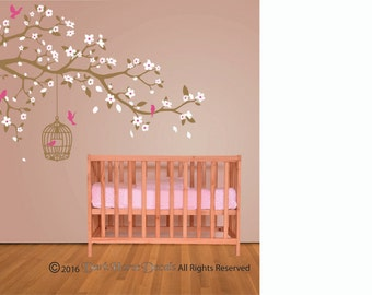 Birds and Blossoms Branches Vinyl Wall Decal - Girls Spring Nursery Wall Decal