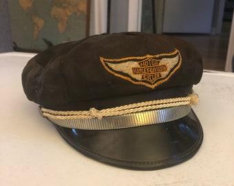 e102ac0ad1ddb Harley Davidson Captains Hat Cap Sz. 7 1 2 Vintage 1940 s 1950 s