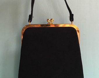 Vintage 1950s - black suede leather structured top handle purse / handbag - gold metal frame - kissing lock closure