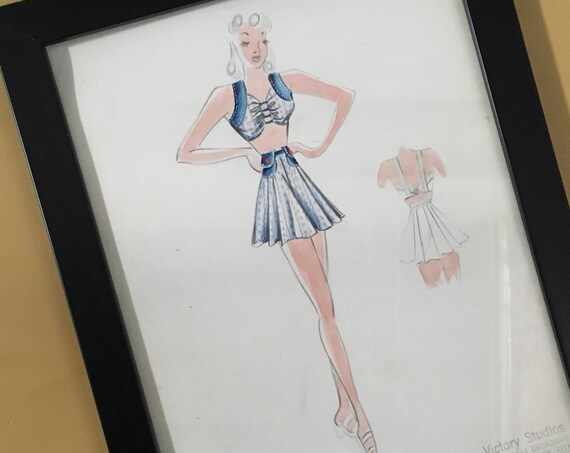 True vintage 1940s - hand painted pin up girl fashion painting drawing illustration with frame - blue & white two piece top skirt set