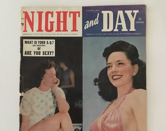 Vintage 1940s - Old Hollywood celebrity movie / entertainment magazine 'Night and Day' - featuring pinup girls, ads, photos, gossip ephemera