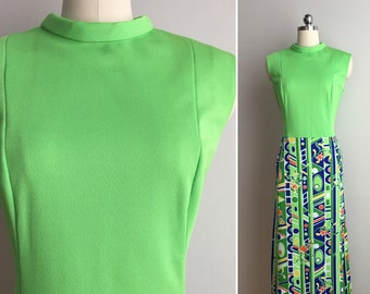 Vintage 1970s - women's sleeveless lime green blue orange & yellow tropical print polyester maxi dress - XL Extra Large - 38 bust 34 waist