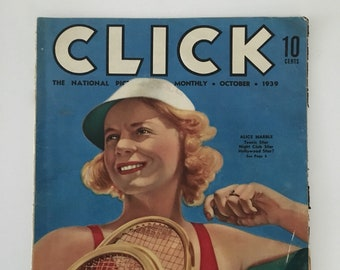 Vintage 1930s - celebrity movie entertainment politics magazine CLICK - pin up girl - advertisements photos gossip ephemera features