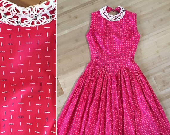 1950s - women's sleeveless red cotton drop waist dress - lace collar w/ rhinestones - S small - 32 33 bust 24 waist