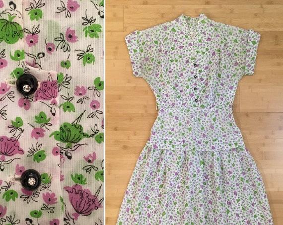 1950s - women's white short sleeve sheer day dress - green & purple ballerina floral novelty print - S Small - 36 bust 26 waist