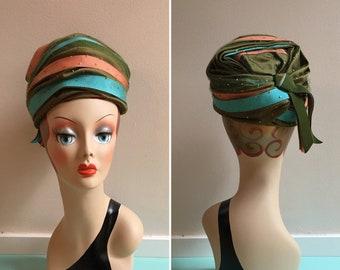 Vintage 1950s - midcentury retro pin up glam green pink & blue layered ribbon formal pillbox hat - netting overlay - glitter polka dots