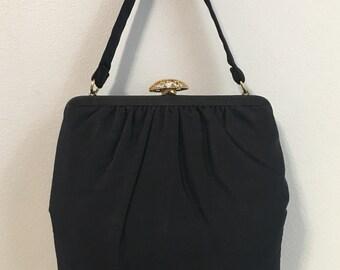 Vintage 1950s - pin up glam Crown Lewis square black sateen satin top handle purse handbag / evening bag - gold metal rhinestone clasp