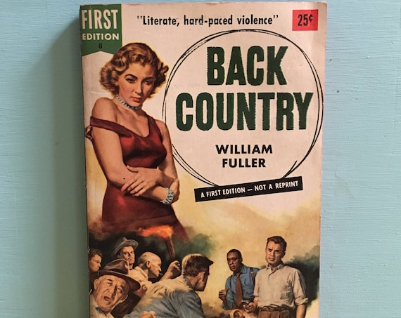 Vintage 1950s - midcentury romance pulp pinup dime store fiction paperback novel book - 'Back Country' - cover art - love & violence