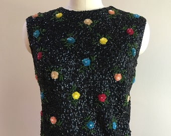 Vintage 1960s - women's sleeveless black sequin top blouse sweater - multi-color flowers / floral design - Medium Large - 38 bust 36 waist