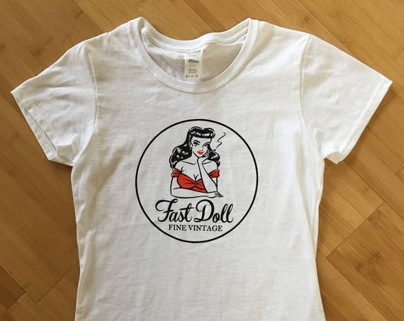 Fast Doll Fine Vintage women's fitted cotton circle logo t-shirt top - sizes S - M - L - XL - WHITE