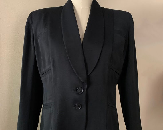 1940s - women's black fitted tuxedo / suit jacket - L Large - 40 bust 36 waist