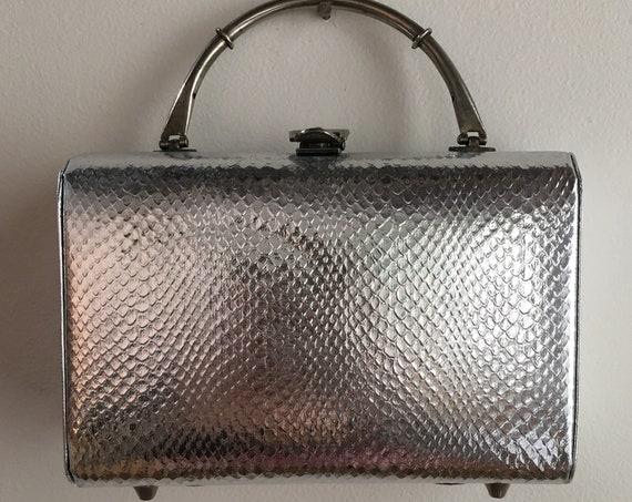 Vintage 1950s - rectangular silver faux snakeskin structured metal top handle purse / handbag - belt buckle clasp - accessories