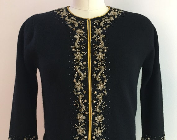 Vintage 1950s - women's pin up rockabilly black angora cashmere cardigan sweater - gold floral beading - M medium - 34 bust 30 waist