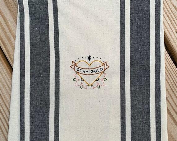 'STAY GOLD' heart tea / kitchen towel
