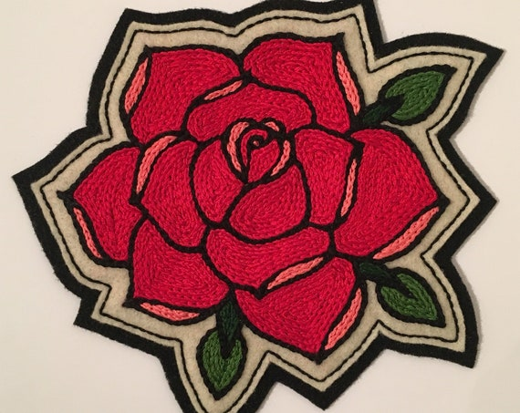 Large red rose patch